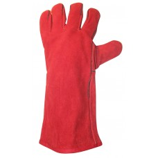 CSM Red Leather Garden Gauntlet Gloves